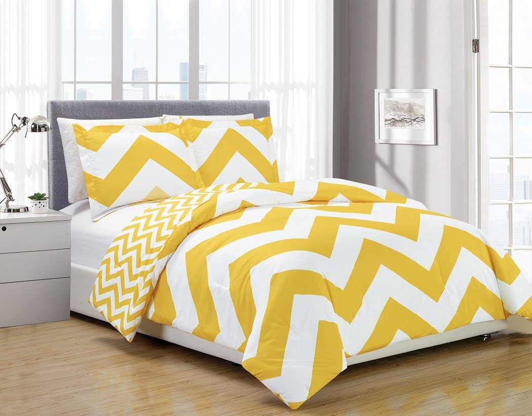 3 Piece Zig Zag Comforter Bedding Set King Yellow 1 104 Inches X 90 By Chezmoi Collection Ship From Us