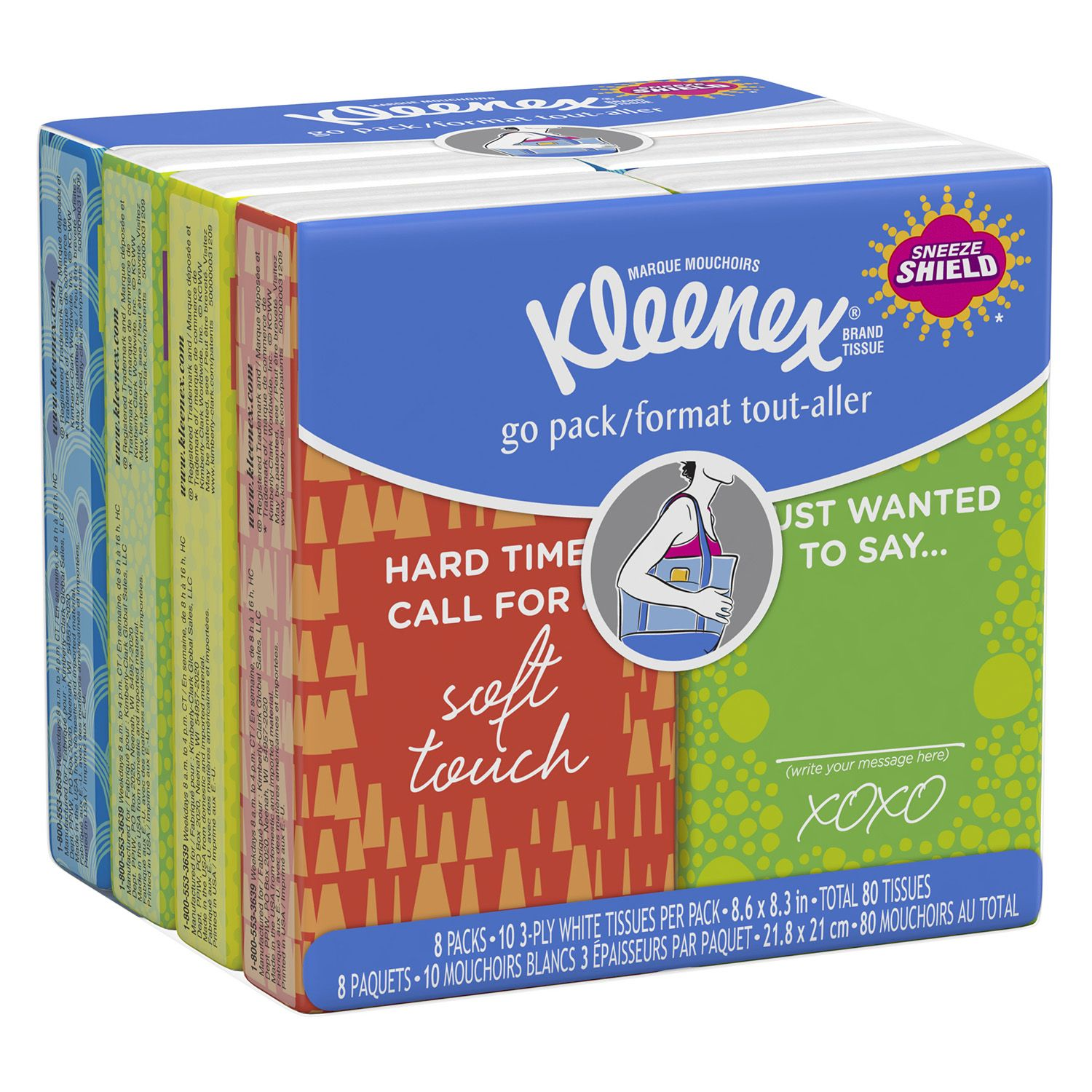 Kleenex Facial Tissue Pocket Packs, 3-Ply, White, 10Sheets/Pouch - 8 Pouches/Pack - (Pack of 2)