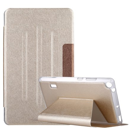 AMZER Silk Texture Horizontal Flip Leather Case with Holder (Gold) For Huawei MediaPad T3 7 - (T3 Cast)