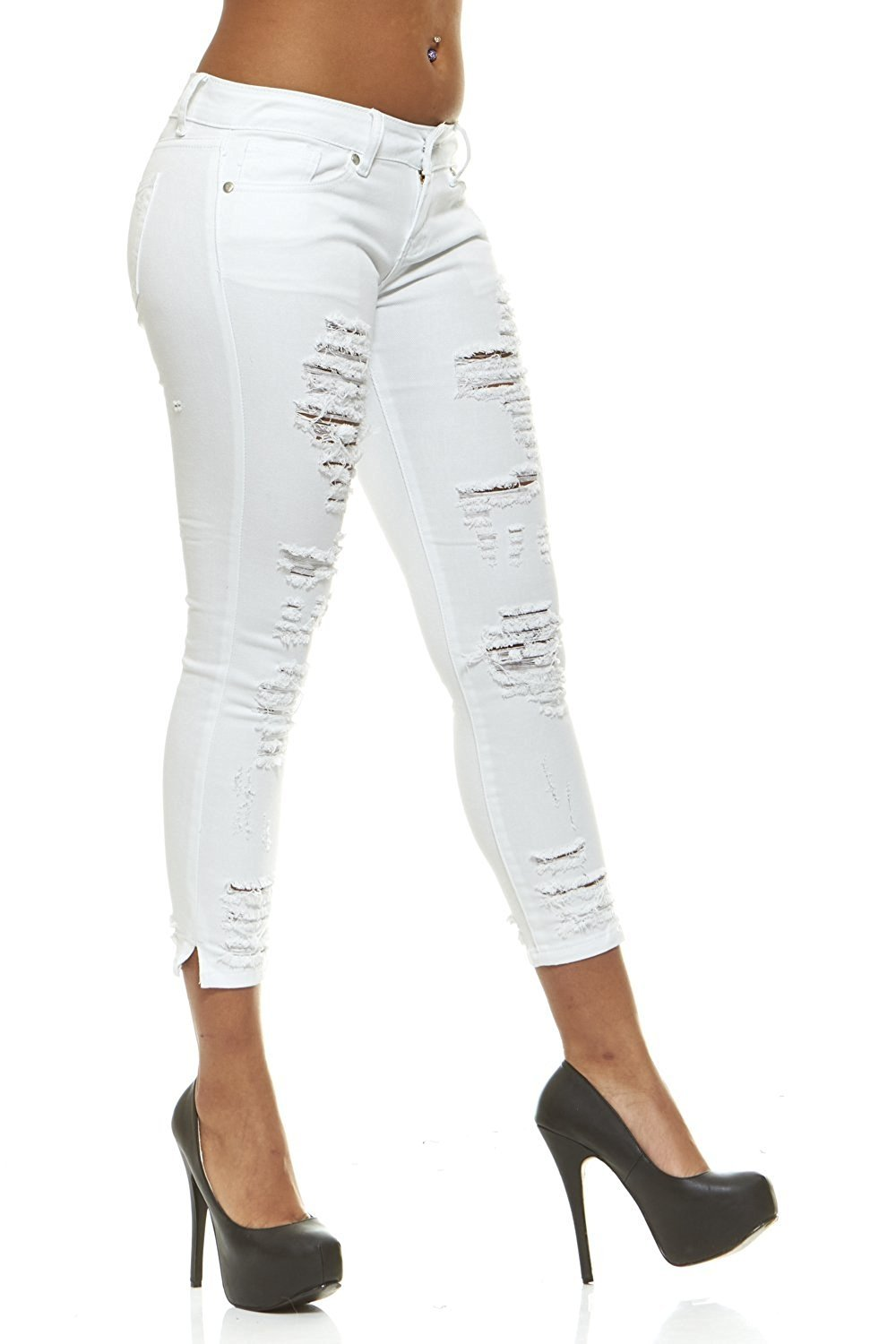 Ripped Slits Distressed Ankle Skinny Slim Fit Stretch Jeans For Women Junior or Plus Sizes 4 Color Options