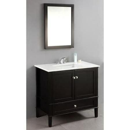 Wyndenhall windham black 36 inch 2 door bath vanity set for Bathroom vanity with bottom drawer