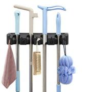Mop Holder, Wall Mount Broom Holder Broom Hanger Organizer with 4 Ball Slots and 5 Hooks Tools Storage for Kitchen, Bathroom, Garage