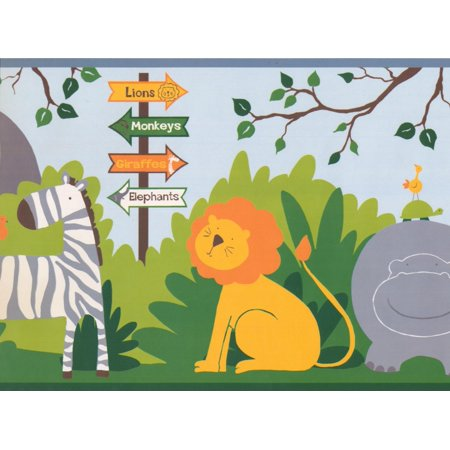 Cartoon Animals Lion Giraffe Rhino Zebra Elephant Monkey Jungle Wallpaper Border for Kids Bedroom Playroom Bathroom, Roll 15' x - Halloween Cartoon Wallpaper