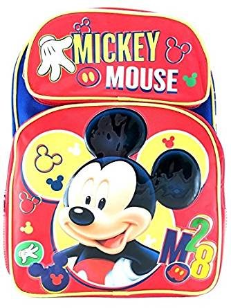 "Backpack Disney Mickey Mouse Red 3D 16"" New 102234 by Ruz"