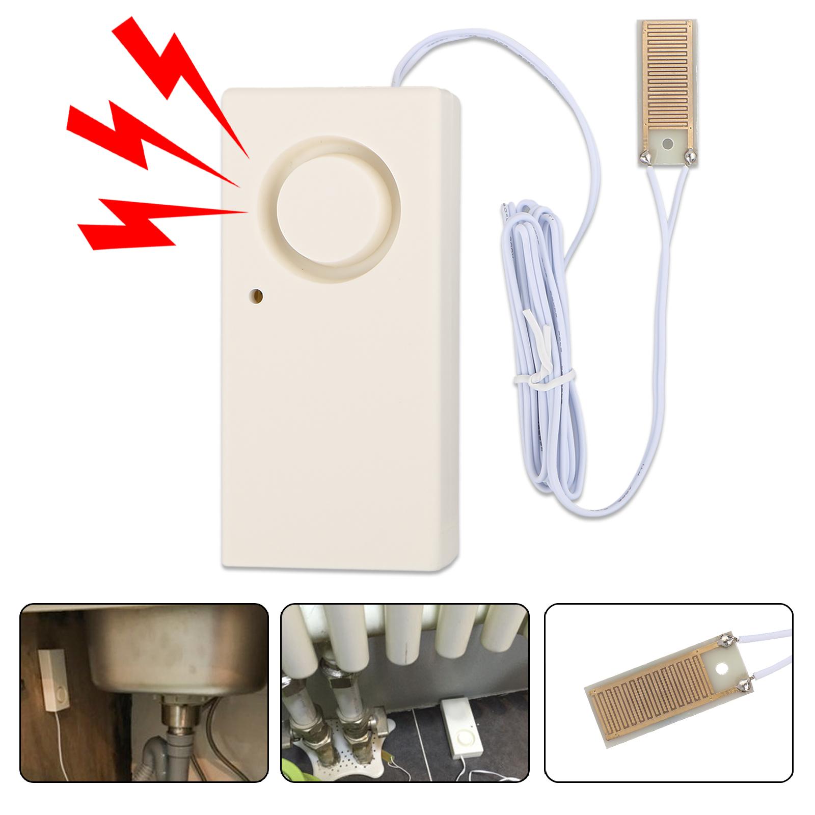 130dB Home Water Leak Leakage Detection Detector Sound Alarm Flood Sensor Siren for Home Security, Basement, Floor