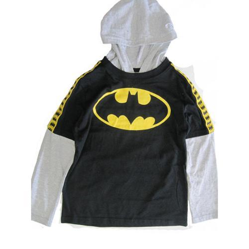 Batman Boys Black Grey Logo Print Hooded Long Layered Sleeve Shirt 8-16