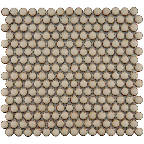 EliteTile Penny 12-1/4'' x 12'' Glazed Porcelain Mosaic in Caf