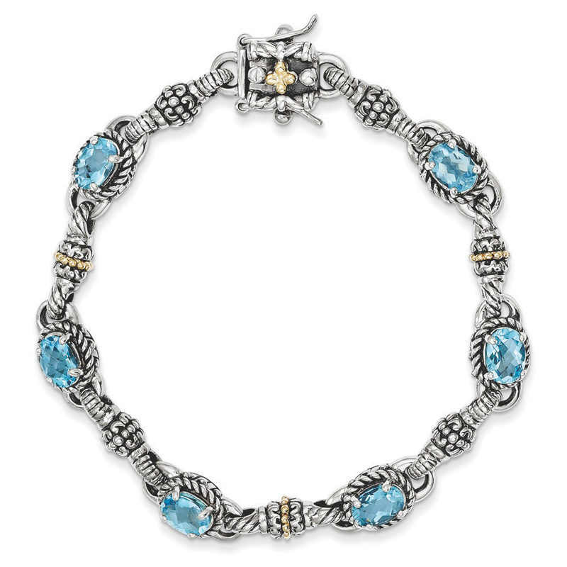 Sterling Silver With 14k 5.71Swiss Blue Topaz 7.25inch Bracelet by Kevin Jewelers