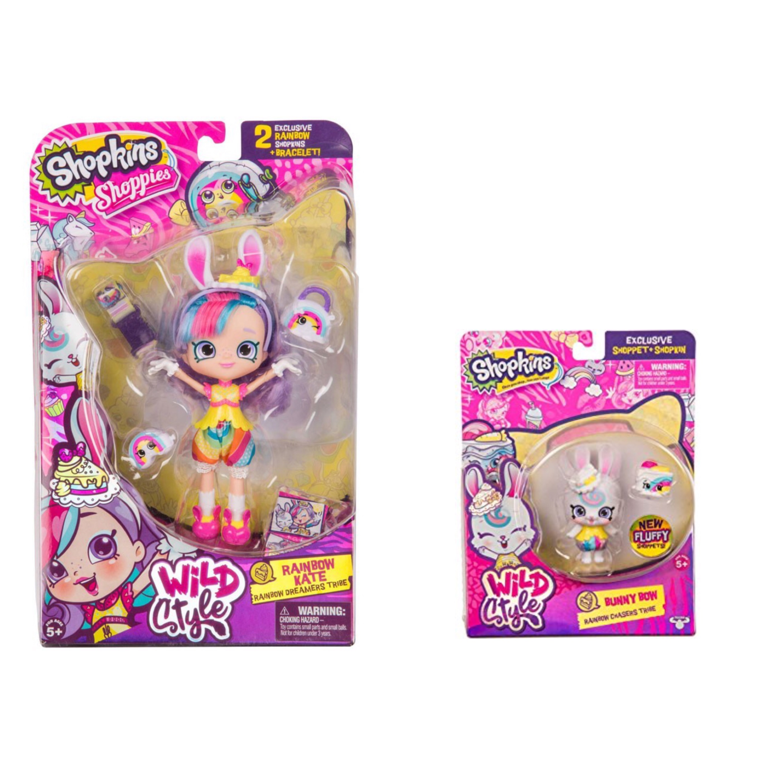 Shopkins Wild Style Rainbow Kate Shoppie Doll and Bunny Bow Shoppet Rainbow Chasers Tribe Bundle