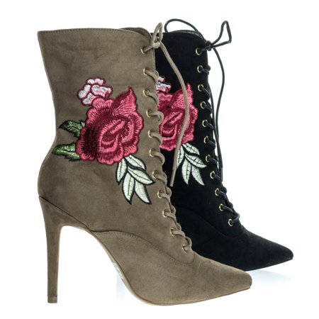 - Akira147A by Wild Diva, Women Corset Combat Boot w Rose Metallic Embroidered Stitch High Heel