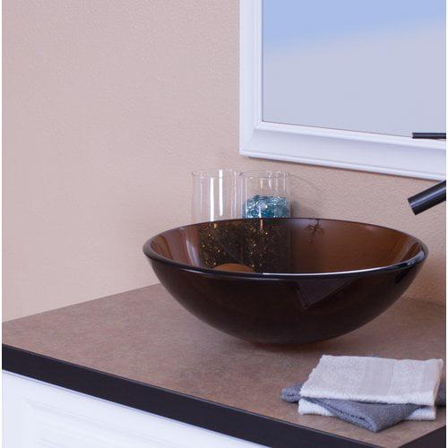 Topia Glass Circular Vessel Bathroom Sink Walmart Com Walmart Com