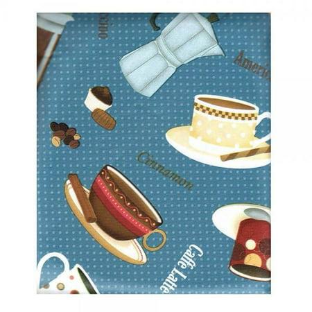 Coffee House Ensamble on Blue Vinyl Flannel Back Tablecloth 52