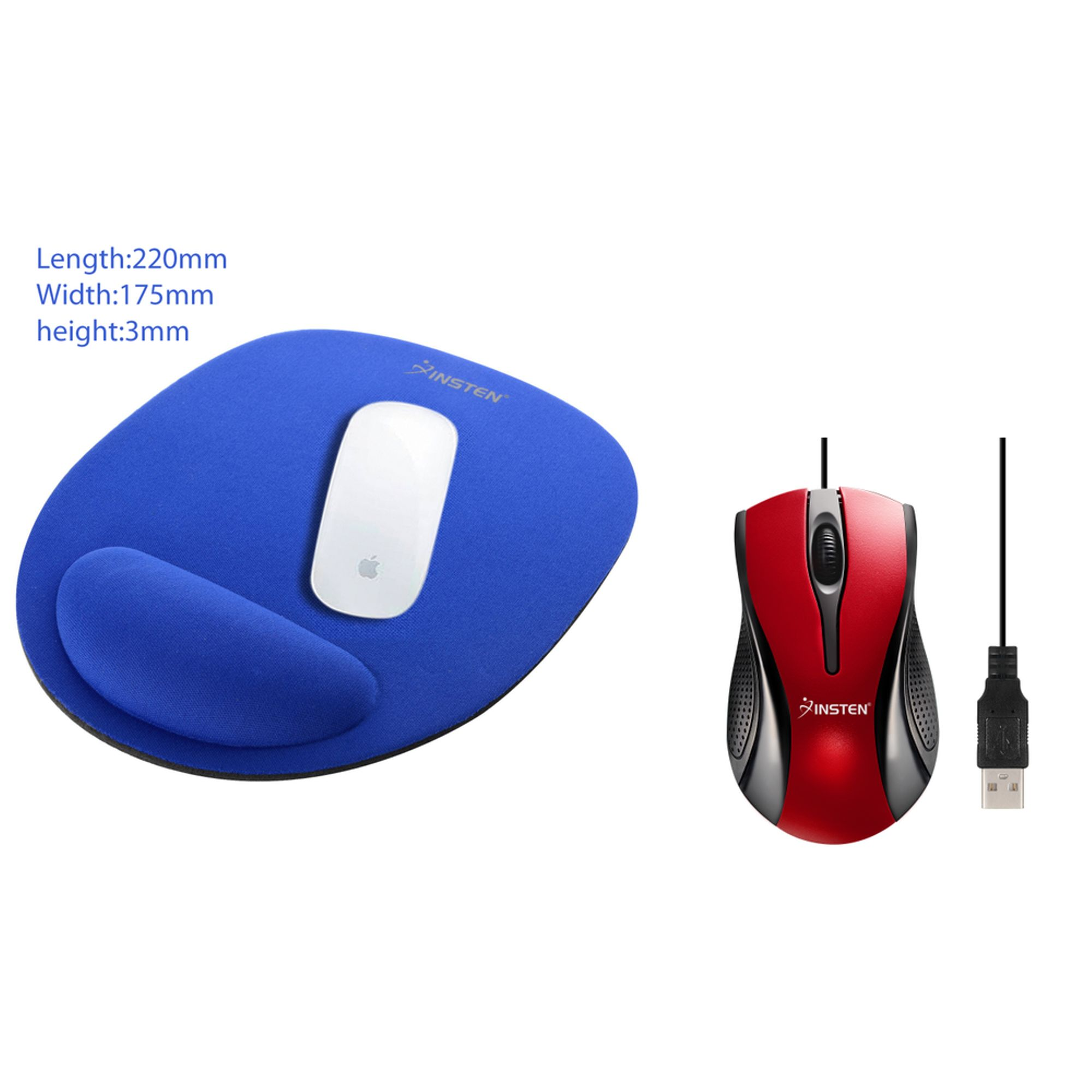 Insten Blue Wrist Comfort MousePad Mouse Pad with Wrist Rest Support + Red Black USB Optical Scroll Wheel Mouse