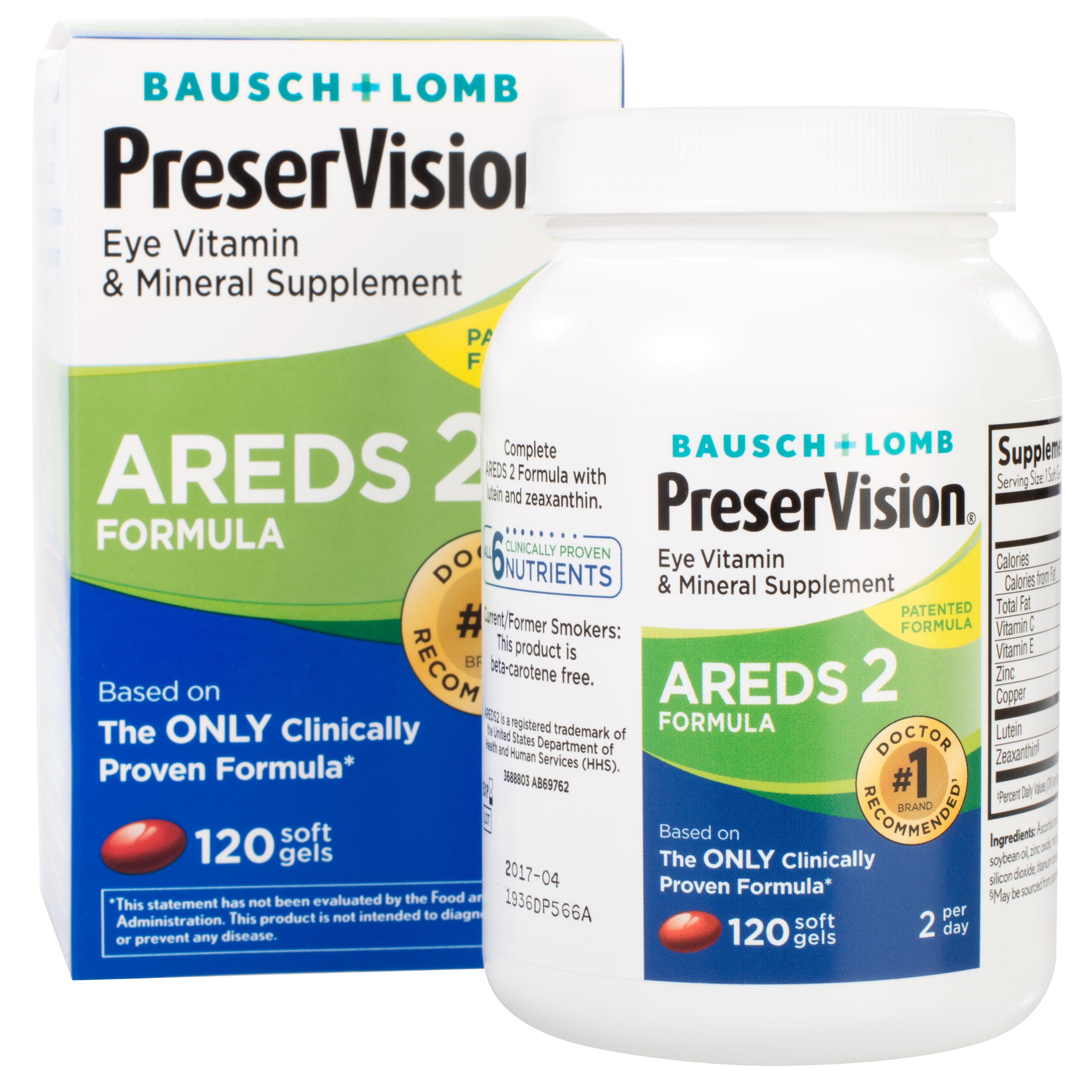 Bausch + Lomb PreserVision AREDS 2 Formula Eye Vitamin Soft Gels, 120 CT Soft Gels