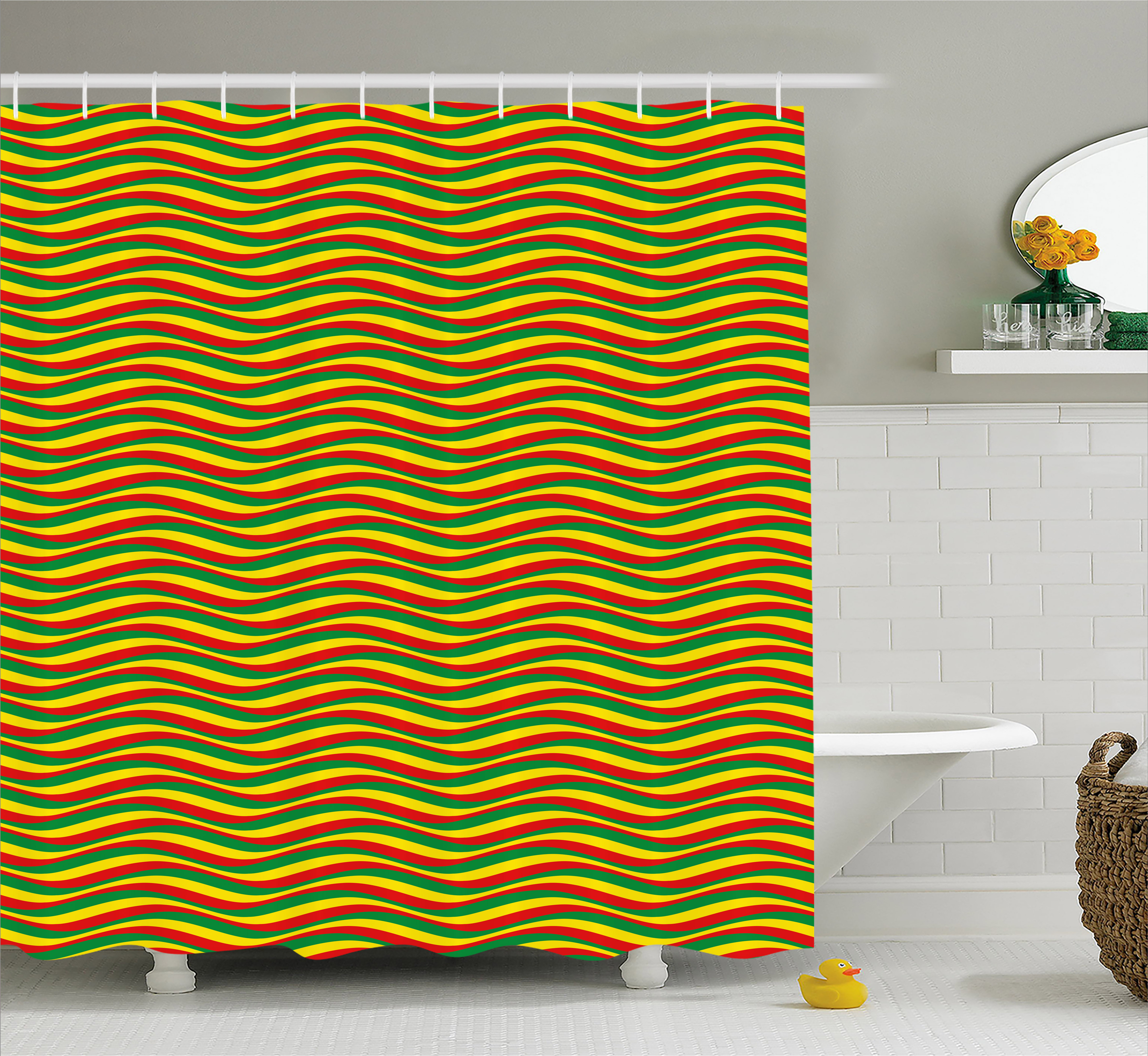 Rasta Shower Curtain, Vivid Colors Ethiopian African Flag Colors In Wavy  Style Stripes Image,