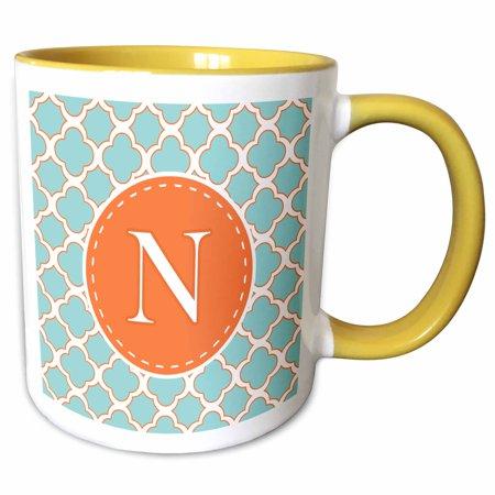 3dRose Letter N Monogram Orange and Blue Quatrefoil Pattern - Two Tone Yellow Mug, 11-ounce