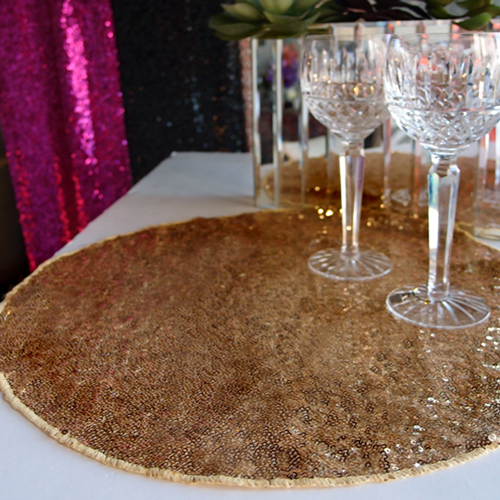 """Quasimoon 16"""" Gold Sequin Round Table Placemat by PaperLanternStore by Asian Import Store, Inc."""