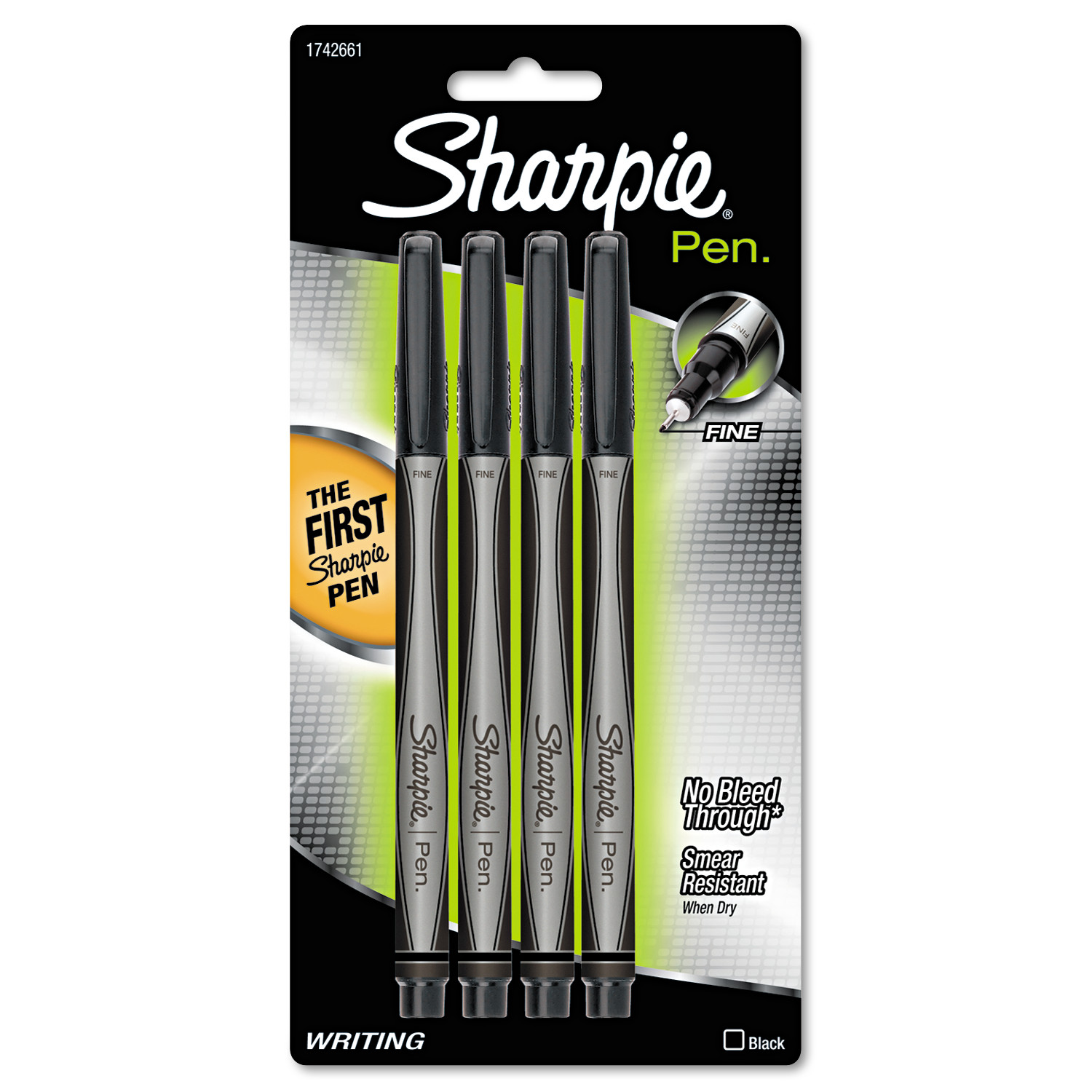 Sharpie Plastic Point Stick Water Resistant Pen, Black Ink, Fine, 4/Pack