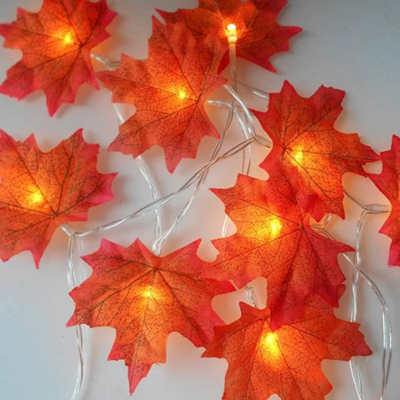 3M 20 Light Artificial Maple Leaves String Lights, Indoor Fairy Lights For Halloween Thanksgiving/ Fall Harvest Seasonal/ Decoration Gift--with 2 X AA Battery Powered ()