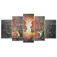 Unframed 5 Panels Abstract Love Lady Tree Canvas Wall Art Wall Decor Painting Prints Pictures Living Room Bedroom Home Decor