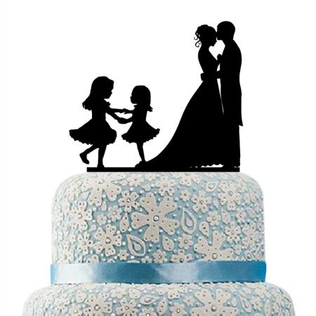 HILBOTT Family Wedding Cake Topper Bride and Groom Two Little Girls, Bride and Groom Cake Topper, Bride and Groom Cake Topper Kids , Cake Toppers - Brunette Bride Cake Topper