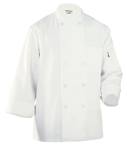 Chef Works Inc Unisex 65 35 Poly Cotton Basic Chef Coat White, Large | 1 Each by Chef Works Inc