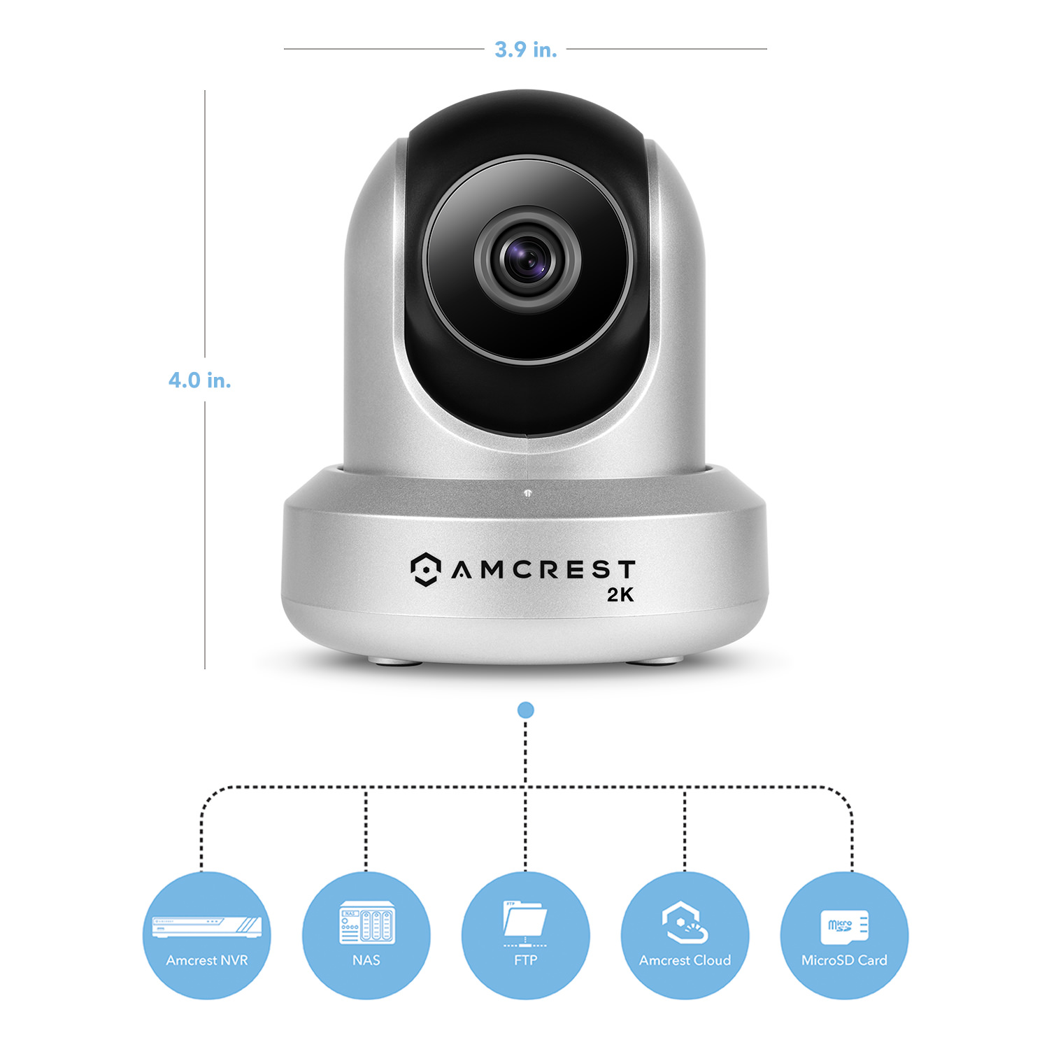 Amcrest UltraHD 2K (3MP/2304TVL) WiFi Video Security IP Camera with  Pan/Tilt, Two-Way Audio, 3MP @ 20FPS, Wide 90° Viewing Angle and Night  Vision