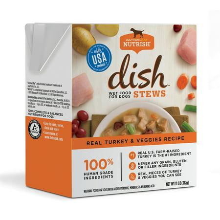 Rachael Ray Nutrish DISH Stews Natural Grain Free Wet Dog Food, Real Turkey & Veggies, 11 oz ...