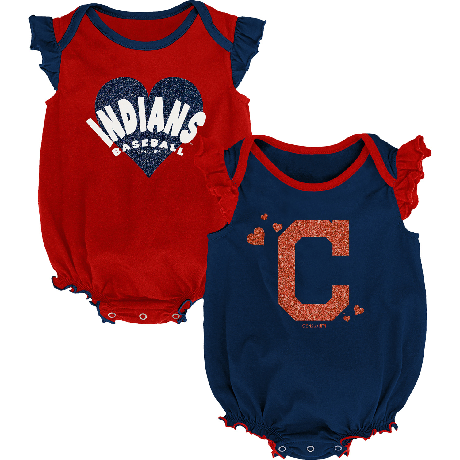 Cleveland Indians Girls Newborn & Infant Double Trouble Two-Pack Bodysuit Set - Navy/Red