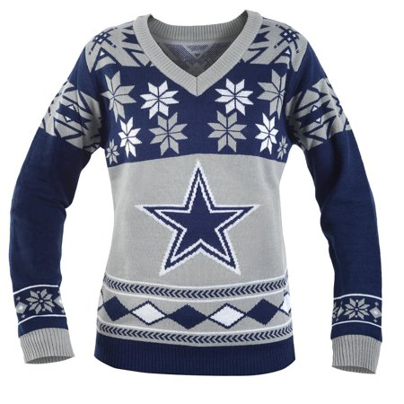 wholesale dealer f37e6 43d82 Dallas Cowboys NFL Women's Big Logo V-Neck Ugly Christmas Sweater Small