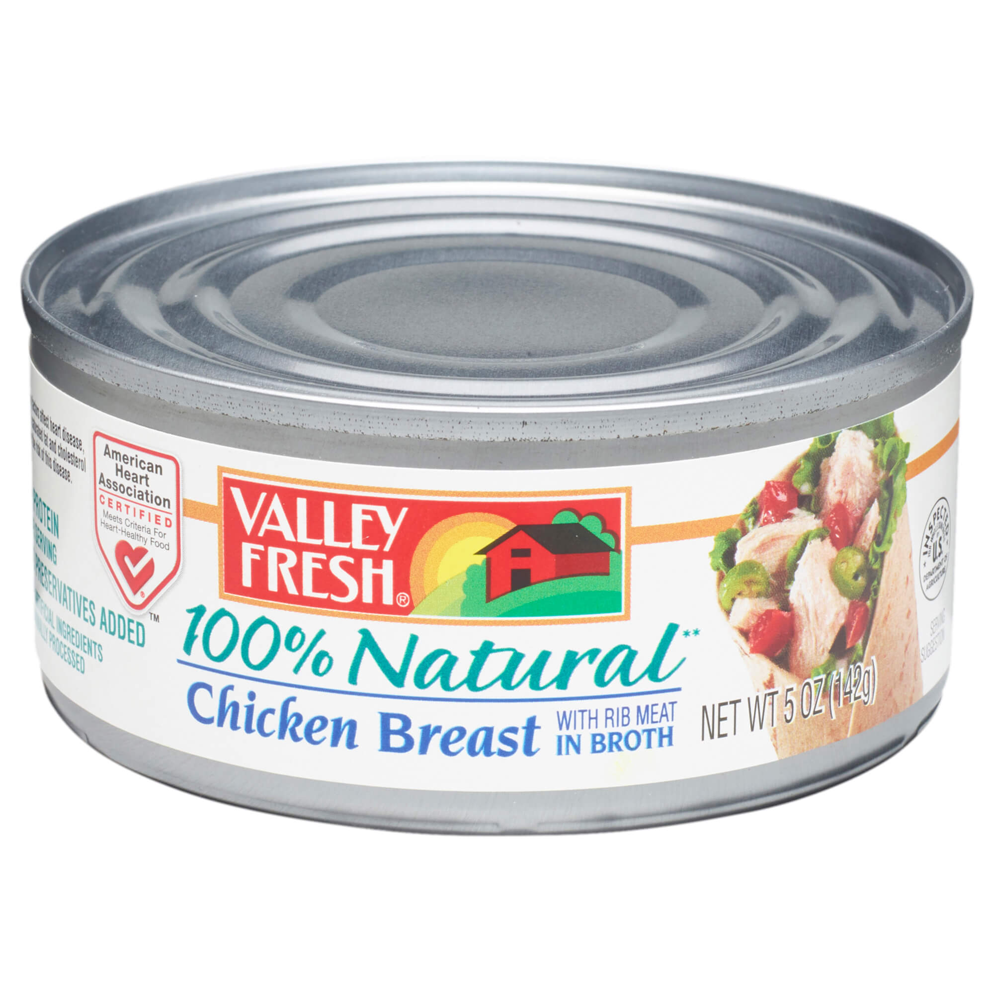 Valley Fresh 100% Natural Canned Chicken Breast with Rib Meat in Broth, 5 Ounce