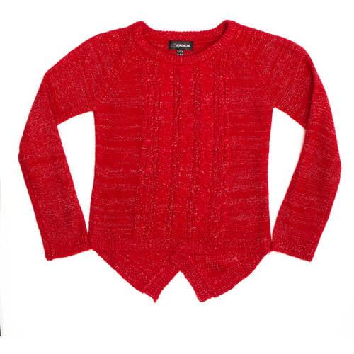 Jordache Girls Lurex Cable Knit Sweater