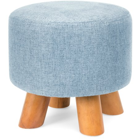 Best Choice Products Upholstered Padded Lightweight Pouf Ottoman Footrest Stool w/ Removable Linen Cover, Non-Skid Wooden Legs, 440lbs Weight Capacity - Denim Blue