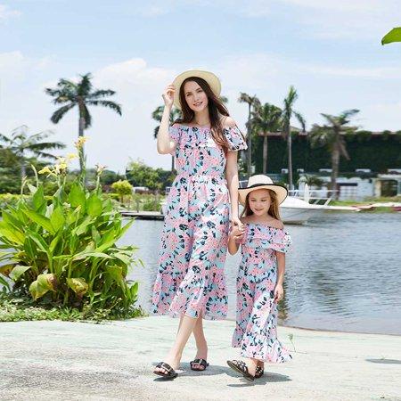 Womens Girls Family Matching Clothes Mother Daughter Parent-Child Off Shoulder Short sleeve Floral Falbala Maxi Long Dress Summer Beach Dress (Mom Dresses Son As Girl For Halloween)