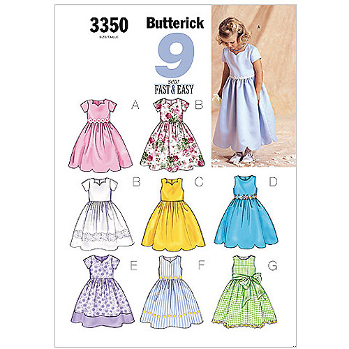 Butterick Pattern Children's and Girls' Dress, (2, 3, 4, 5)