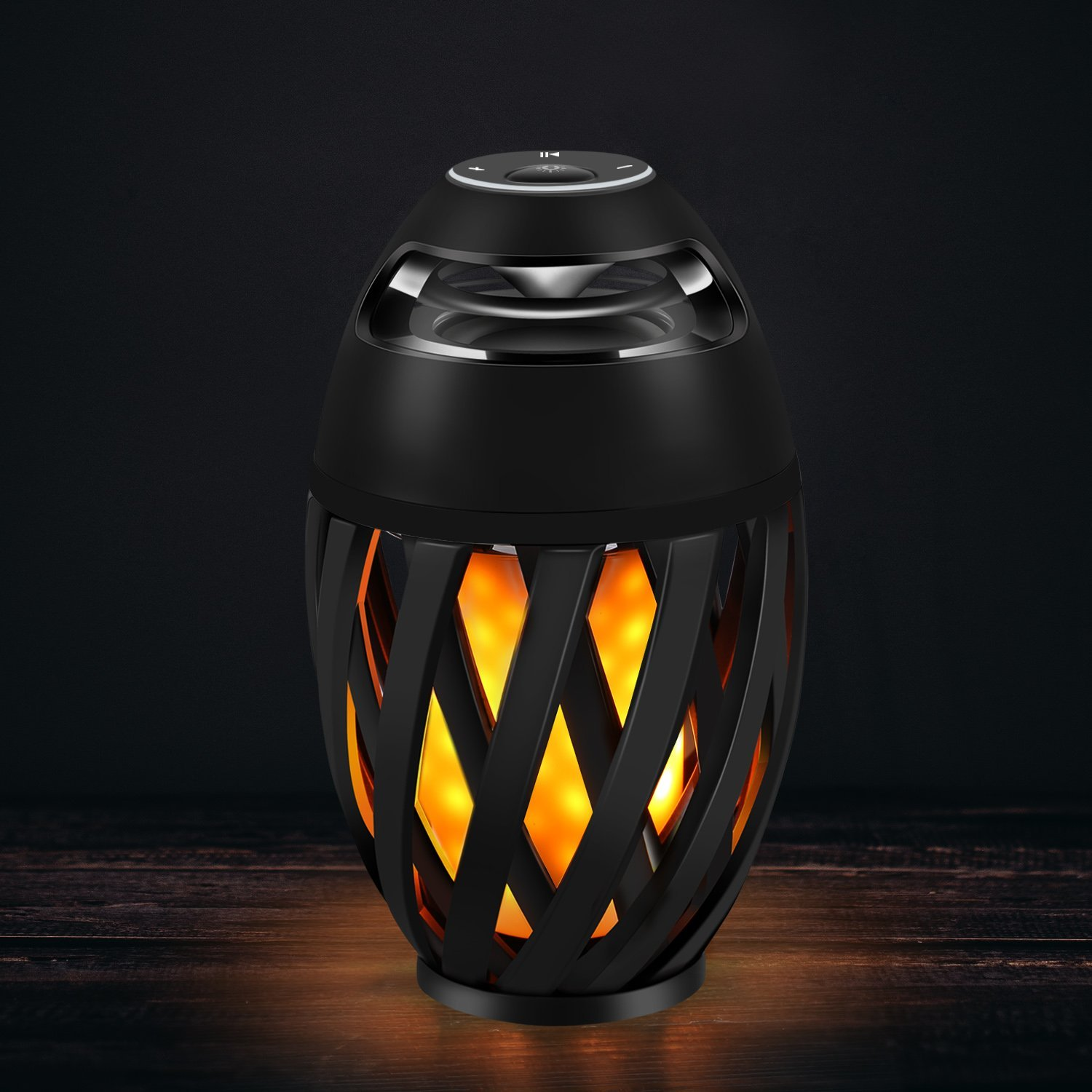 Outdoor Portable LED Flame Camping Lamp Wireless Bluetooth Stereo Loud Speaker