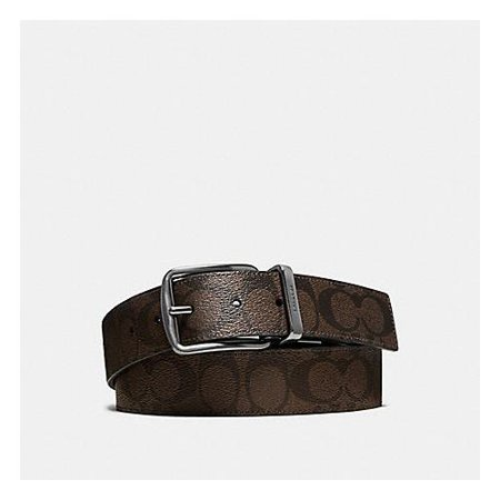 Coach Men's Wide Harness Cut To Size Reversible Signature Coated Canvas Belt, Mahogany Brown