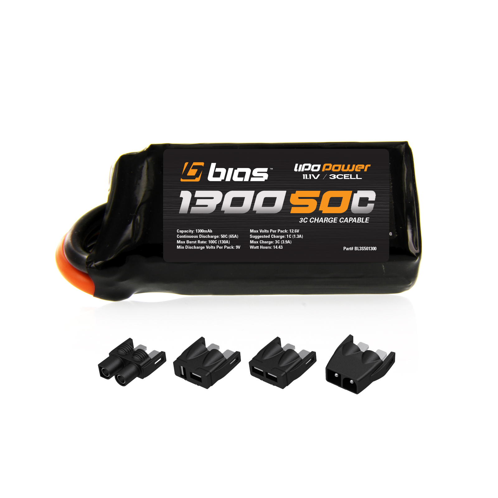 Blade Vortex 250 Pro RC Quadcopter FPV Racing Drone 50C 3S 1300mAh 11.1V LiPo Drone Battery by Bias