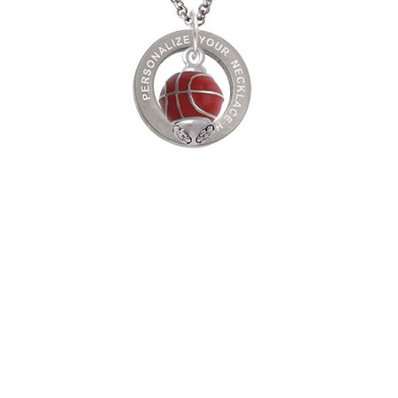 Silvertone 3-D Enamel Basketball Spinner Custom Engraved Affirmation Ring Necklace