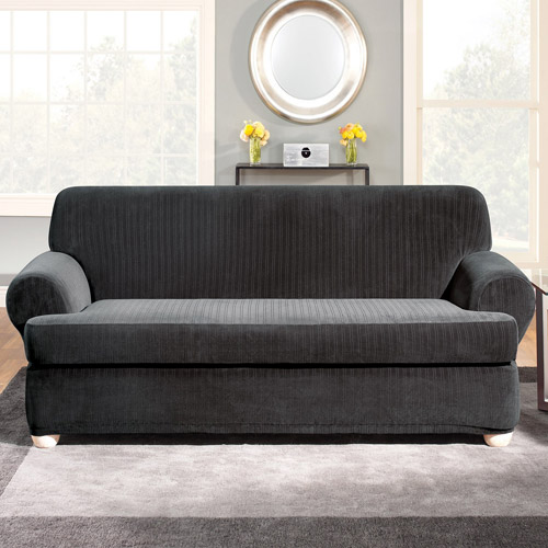 Surefit Stretch Pinstripe 2-Piece T-Cushion Sofa Slipcover, Black