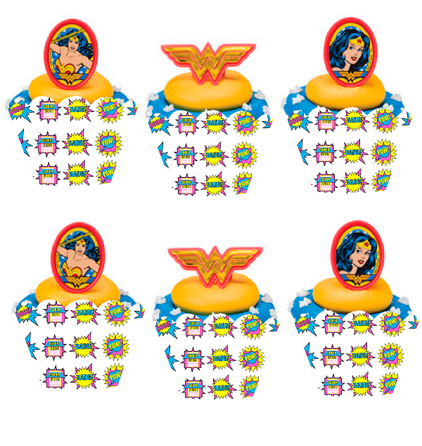 Wonder Woman Cupcake Decoration Picks with Baking Cup Decoration Wrappers