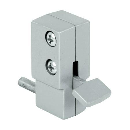 Prime Line U 9877 Sliding Door Lock, Step-on, Aluminum Finish