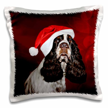 3dRose English Springer Spaniel Dog Wearing Santa Hat Red Ornament Background - Pillow Case, 16 by -