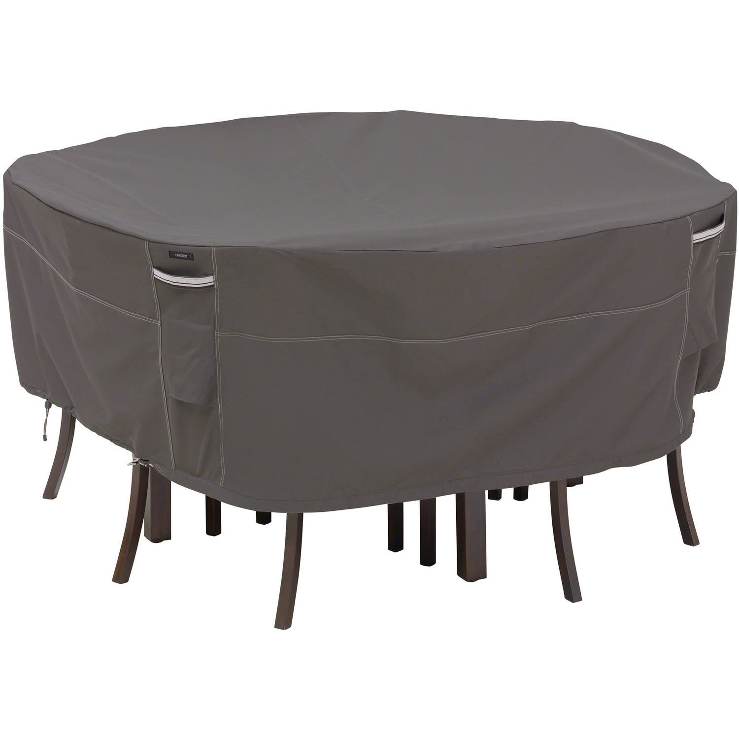 Classic Accessories Ravenna Round Patio Table and Chair Cover - Premium Outdoor Furniture Cover with Durable and Water Resistant Fabric, Medium, Taupe (55-157-035101-EC)