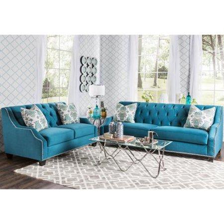 Furniture Of America Elsira Premium Velvet 2 Piece Cerulean Blue Sofa Set