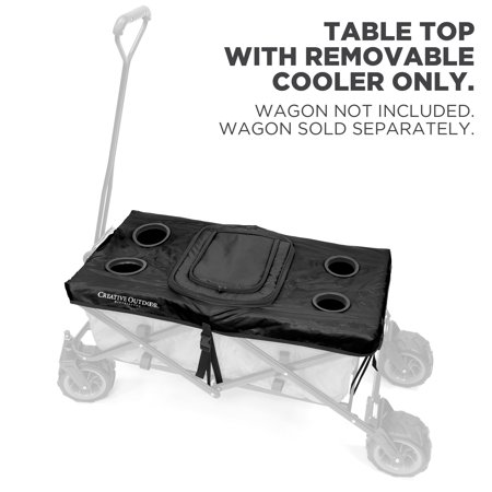 - Creative Outdoor Collapsible Folding Wagon Table Top Cooler Cover Accessory | Black