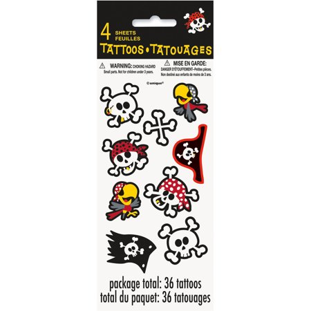 Pirate Party Tattoo Sheets, 4ct](Tattoos For Kids Names)