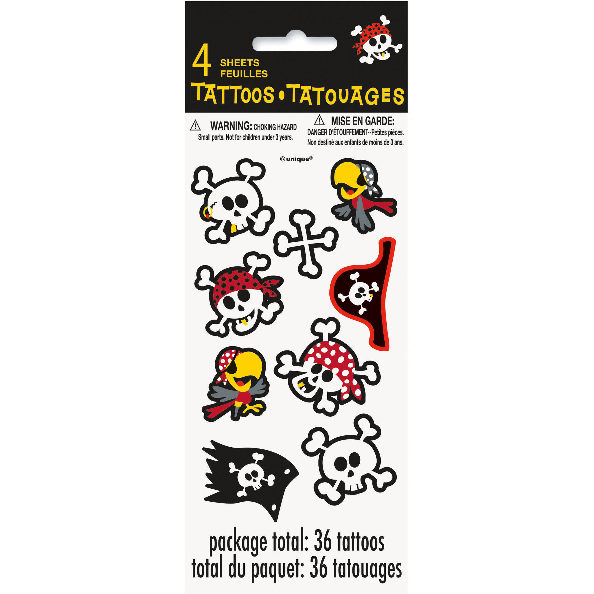 Pirate Party Tattoo Sheets, 4-Count