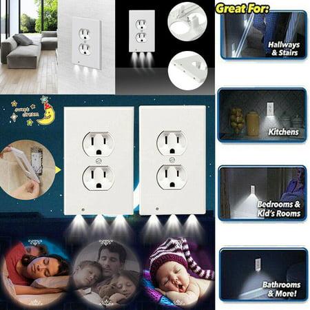 Duplex Night Angel Sensor LED Wall Outlet Pulg Cover Plate Hallway Bathroom Bedroom Kid Night Light