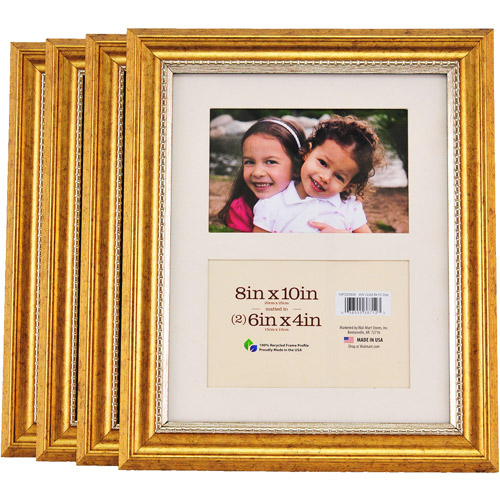 8x10 2-Opening Matted Gold Picture Frames, Set of 4